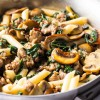 Penne with Sausage, Caramelized Mushrooms and Winter Greens
