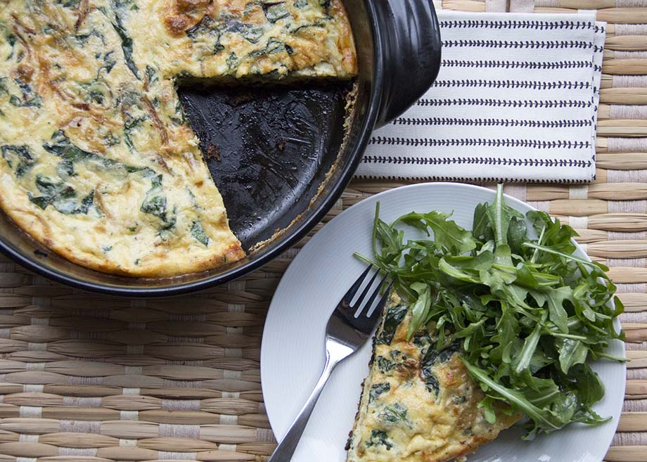 Caramelized onion and swiss chard frittata from Kiwiandbean.com