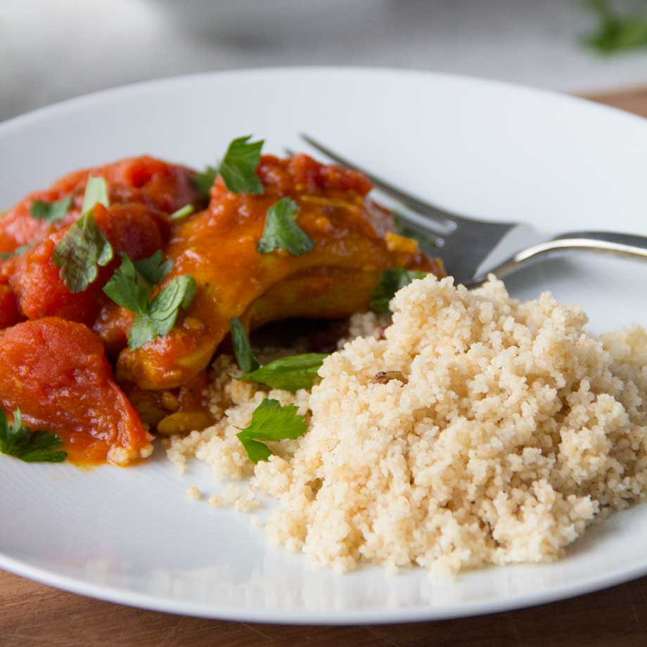 Moroccan Chicken Over Couscous from Kiwiandbean.com
