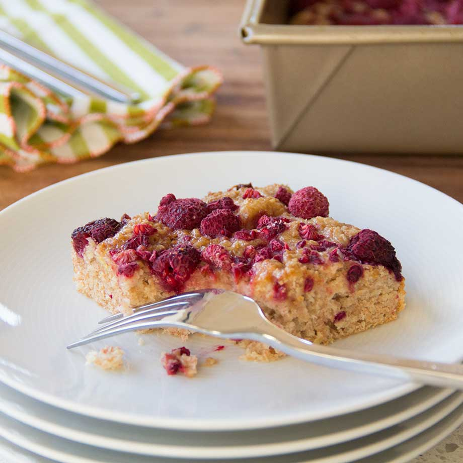 Olive Oil & Greek Yogurt Snack Cake with Berries