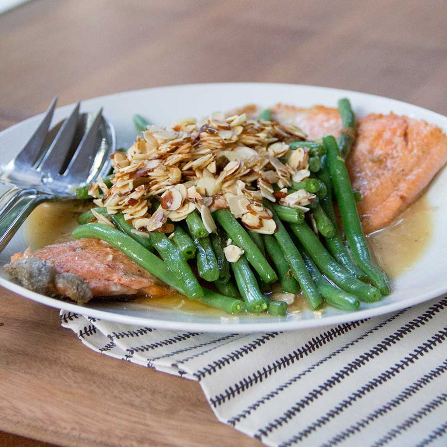 One-Skillet Trout with Almonds & Green Beans by Kiwi & Bean