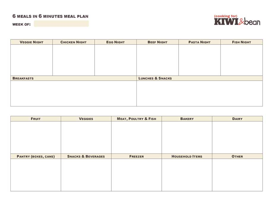 meal planning template with grocery list - 6 meals in 6 minutes meal planning cooking for kiwi bean
