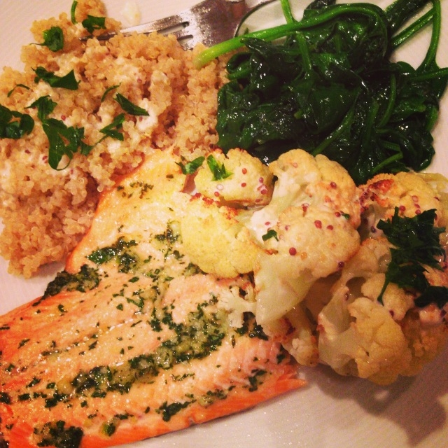 trout with cauliflower