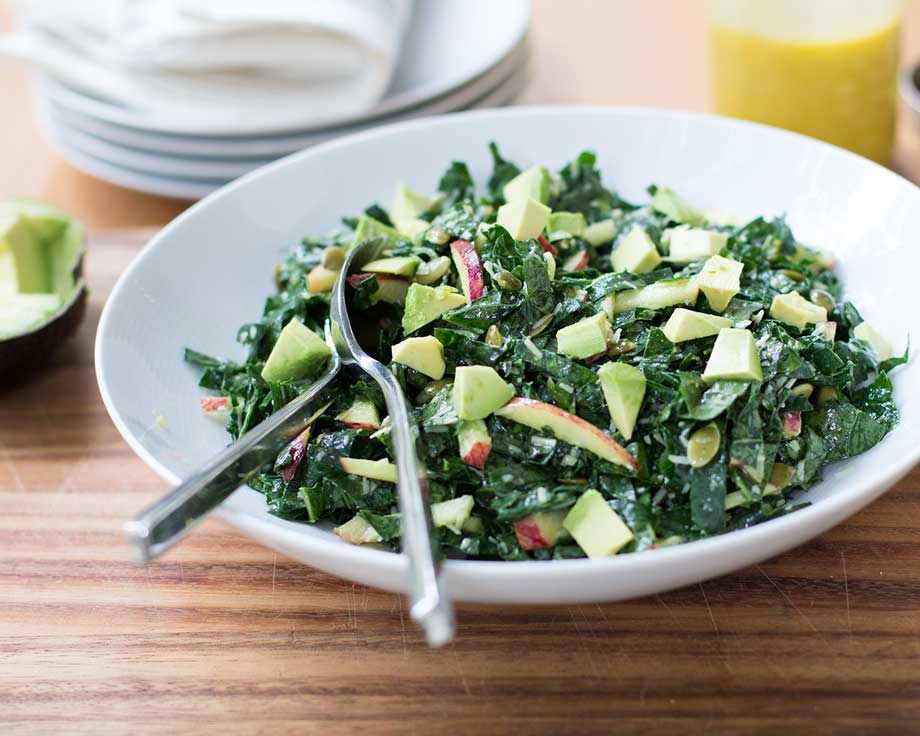 Kale, Apple, Avocado, Parm Salad | www.kiwiandbean.com