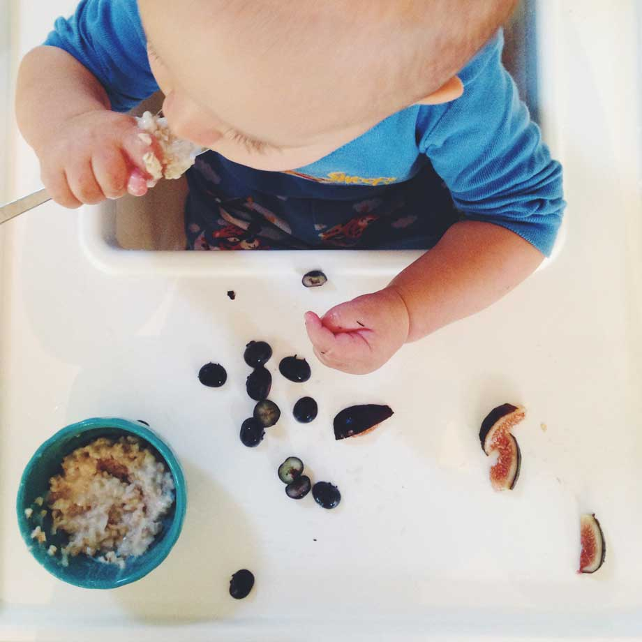 Eating oatmeal, blueberries & figs