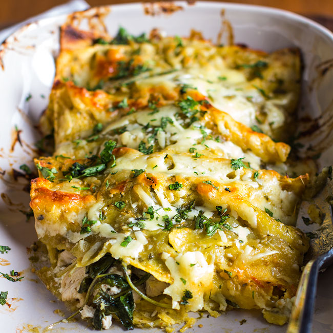 Easy Chicken, Kale & Goat Cheese Enchiladas | www.kiwiandbean.com