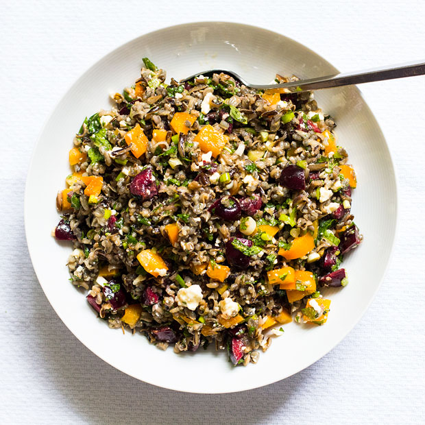 Wild Rice Salad with Cherries, Mint and Feta | www.kiwiandbean.com