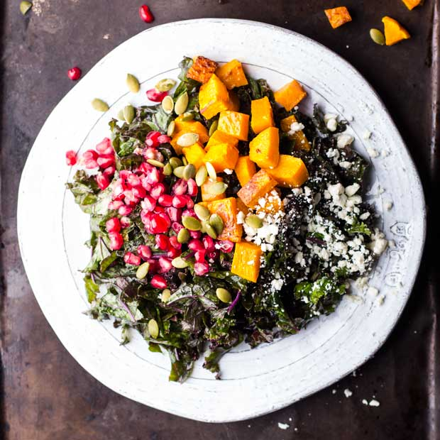 Red Kale, Butternut Squash, Pomegranate and Feta Salad with Maple-Dijon Vinaigrette |www.kiwiandbean.com