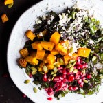 Harvest Kale Salad with Squash, Pomegranate, Feta and a Maple-Dijon Vinaigrette