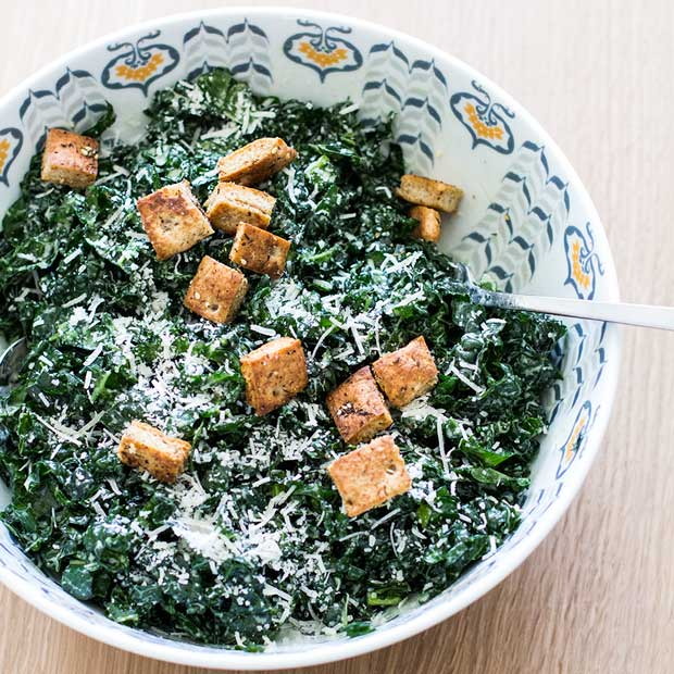 Greek Yogurt Kale Caesar Salad | www.kiwiandbean.com